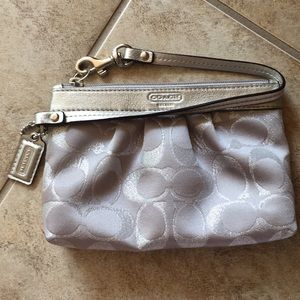 Coach silver fabric monogrammed wristlet